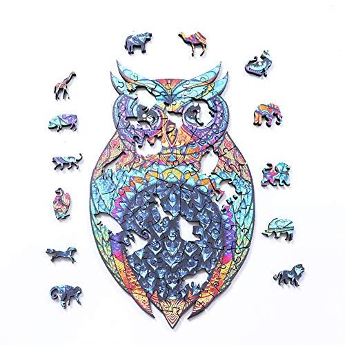 UIGJIOG Puzzles de Madera, Piezas de Rompecabezas de Búho Animales Tridimensionales, Juegos Familiares y Conjuntos de Entretenimiento para NiñOs y Adultos,1.4 * 19.8 cm