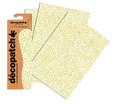 Decopatch Papier No. 540 (creme gold Giraffe, 395 x 298 mm) 3er Pack