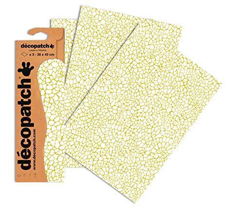 Decopatch Papier No. 540 (creme gold Giraffe, 395 x 298 mm) 3er Pack