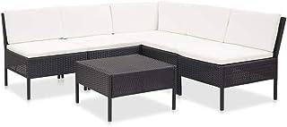Benkeg Set Muebles de Jardín 6 Piezas y Cojines Ratán Sintético Negro/Blanco Crema 60 x 60 x 35 cm, Conjunto de Comedor de Ratán Conjunto de Muebles de Jardín Conjunto de Sofás de Jardín de Ratán