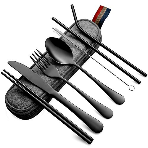 Devico Portable Utensils Travel Camping Cutlery Set 8Piece including Knife Fork Spoon Chopsticks Cleaning Brush Straws Portable Case Stainless Steel Flatware set 8piece Black