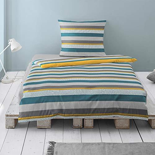 Irisette Mako-Satin Bettwäsche Capri Doncaster grau 1 Bettbezug 135x200 cm + 1 Kissenbezug 80x80 cm