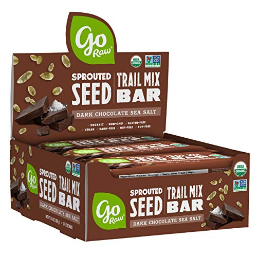 Go Raw Sprouted Seed Trail Mix Bars Gluten Free, Paleo, Vegan, Natural, Organic, Nut Free Dark Chocolate Sea Salt, 12 Ounce (Pack of 12)