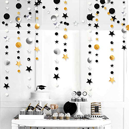 52 Fts Black Silver Gold Twinkle Little Star Party Garlands Kit Metallic Glitter Full Moon Star Circle Garland Streamer Bunting Banner for Merry Christmas Xmas Birthday Graduation EID Ramadan