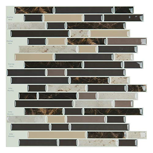Art3d 12'x12' Self Adhesive Wall Tile Peel and Stick Backsplash for Kitchen, Long Marble Design (6 Pack)
