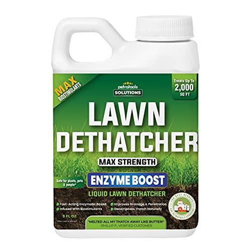 PetraTools Liquid Dethatcher, Lawn Dethatcher & Aerator, Grass Dethatcher & Thatch Rake Alternative, Thatch Remover, Liquid Thatch Remover, Lawn Dethatch Product, Lawn Dethatching Solutions (8 Oz)
