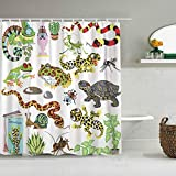 N\A Duschvorhang Rote Schlange Reptilien Amphibien & Insekten Cartoon Terrarium Tiere wasserdichte Bad Gardinen Haken enthalten - Badezimmer dekorative Ideen