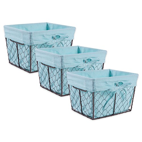 DII Z01537 Vintage Chicken Wire Baskets for Storage Removable Fabric Liner Set of 3 Aqua 3 Piece