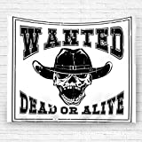 "txregxy Tapestry Wall Hanging Tablecloth Beach Towel Blanket Cowboy Skull in Hat and Lettering Wanted Dead Or Alive Home Living Room Bedroom Decor Carpet 59.1""(H) X90.5(W)"