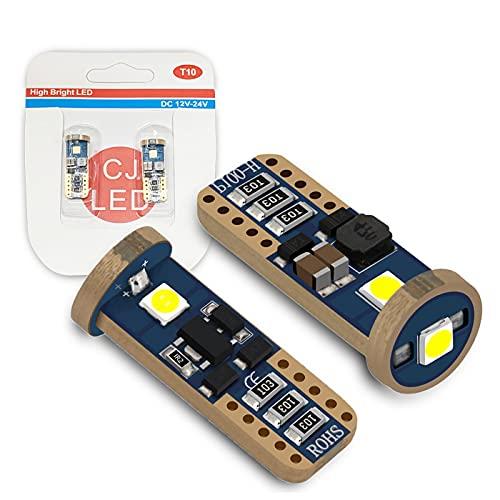 W5W T10 Bombilla LED Canbus sin errores, 194 168 501 LED 6000K Xenón Blanco para Coche mapa de coche Domo Guante Tronco Aparcamiento Marcador lateral Luz de matrícula (2 piezas)