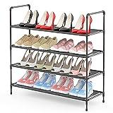 Shoe Rack Organizer 4-Tier 16 Pairs, LEHOM Metal Stackable Shoe Storage Non-Woven Fabric Shoe Shelf for Closet Floor Entryway Bedroom, Black