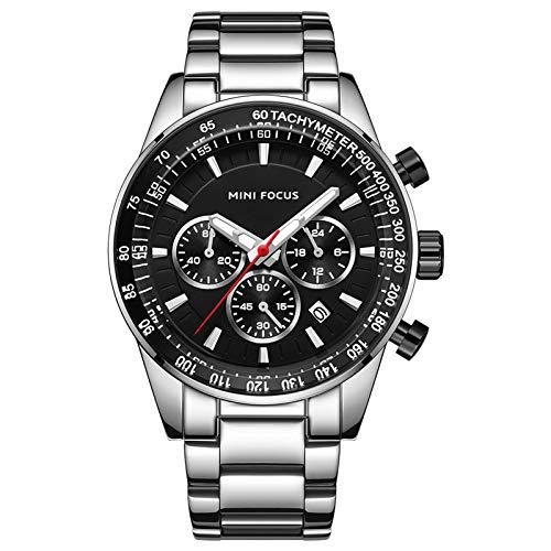 JTTM Reloj Analógico De Cuarzo para Hombre Manos Luminosas Multifunción Calendario Correa En Acero Inoxidable Impermeable Cronógrafo Negocio Relojes,Negro