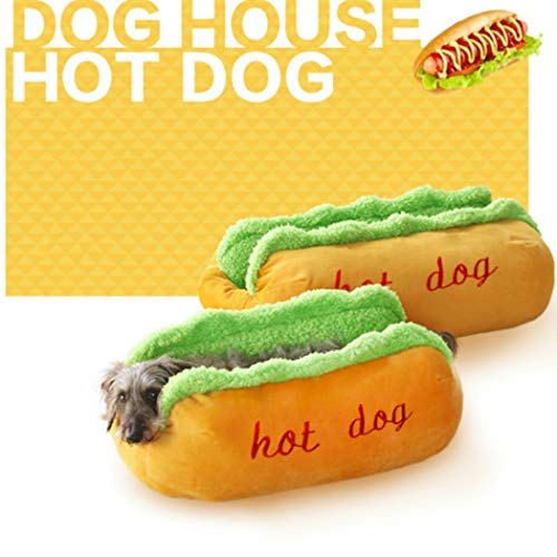 Gamloious Hot Dog Dog Beds Removable Soft Mat Pet Sofa Cute Beds for Cozy Puppy Litter Cat Sleeping Cushion Chihuahua Teddy Nest Kennel