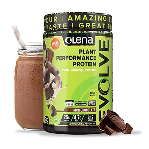 Olena EVOLVE Vegan Performance Plant Protein 25G Protein Rich Chocolate Flavour Digestive Enzymes Vitamin B12 Recovery Antioxidants, 1 KG