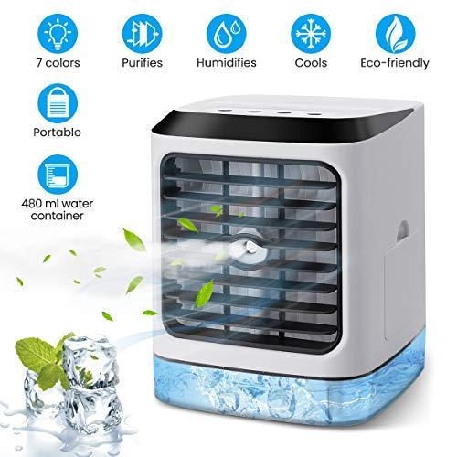 OUTERDO Mobile Mini Klimaanlage,Tragbarer Air Cooler Luftbefeuchter,3 in 1 Desktop-Luftkühler für Büro,Zuhause, Küche, im Freien
