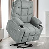 YITAHOME Electric Power Lift Recliner Chair for Elderly, Fabric Recliner Chair with Massage and Heat, Spacious Seat, USB Ports, Cup Holders, Side Pockets, Remote Control (Gray)