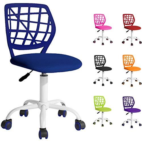 Chaise de Bureau Ergonomique pour Enfants et Adolescents. Chaise d'ordinateur pivotante à 360 ° et réglable en Hauteur sans accoudoirs - Bleu