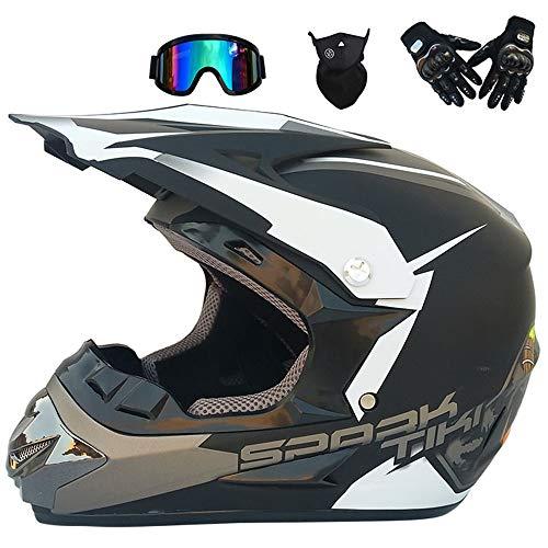 MRDEER® Casque Motocross Kit avec Lunettes Gants Masque Casque Off-Road Adulte Casque MX Moto Casque ATV Scooter Casque, D.O.T Certifié, 16 Styles Disponibles,H,XL