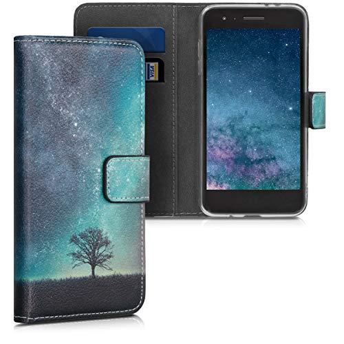 kwmobile Hülle kompatibel mit LG K8 (2018) / K9 - Kunstleder Wallet Hülle mit Kartenfächern Stand Galaxie Baum Wiese Blau Grau Schwarz