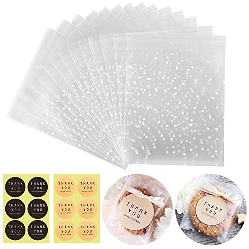Self Adhesive Cookie Bags Cellophane Treat Bags, Searik White Polka Dot Plastic Pastry Bags with Thank You Labels for Party Gift Giving Bakery Candy Cookie Chocolate (3.94 x 3.94 Inches, 100 Pcs)