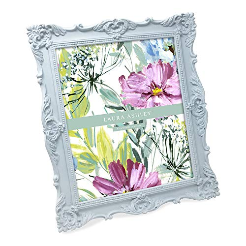 Laura Ashley 8x10 Powder Blue Ornate Textured Hand-Crafted Resin Picture Frame w/Easel & Hook for Tabletop & Wall Display, Decorative Floral Design Home Décor, Photo Gallery, Art...