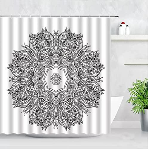 Mandala Flor Cortinas de Ducha Patrón geométrico Bohemia Estilo étnico Tela Impermeable Cortina de baño Juego de decoración de bañera