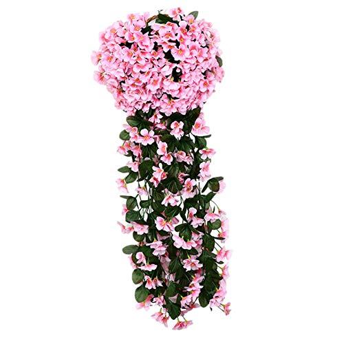 LOPADE 3 pies Artificial Hydrangea Flower Vine Wisteria Vines Flores Plantas para el hogar Hotel Oficina Boda Fiesta Jardín Artesanía Decoración artística Flores Artificiales Colgantes compatible