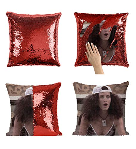 Monica Friends Geller CF6 Pillow Cover Sequin Mermaid Flip Reversible Scales Meme Emoji Actor Girls Boys Couch Office Sofa (Cover Only)