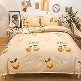 Conjunto de Hojas de Cama, Juego de Cama de Microfibra de poliéster Suave de 4 Piezas-Una Naranja de Miel_1,8m-6 pies de Cama