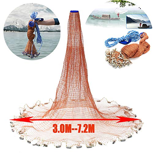 Zaoyun 3.0m-7.2m Redes de Pesca - Redes de Malla de Nylon Lanzamiento a Mano con Cuerda 10m y Anillos Pesados