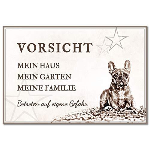 ZAUBERBILD Hundeschild Warnung | Französische Bulldogge 'Mein Haus' | Warnschild Vorsicht Hund | 25x17cm Alu