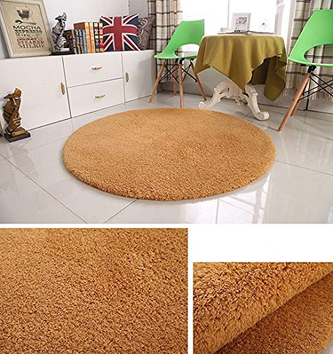 Eastery Runde Teppiche Verdickt Lämmer Wolle Fußmatten Korb Computer Stuhl Matten Einfacher Stil Schlafzimmer Wohnzimmer Nachtteppich 140 cm 55 Zoll (Color Brown) (Color : Brown, Size : Size)