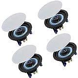 Herdio Altavoces de techo Bluetooth de 4 pulgadas 160 W de 2 vías, perfectos para baño, cocina, sala de estar, oficina (2 pares)