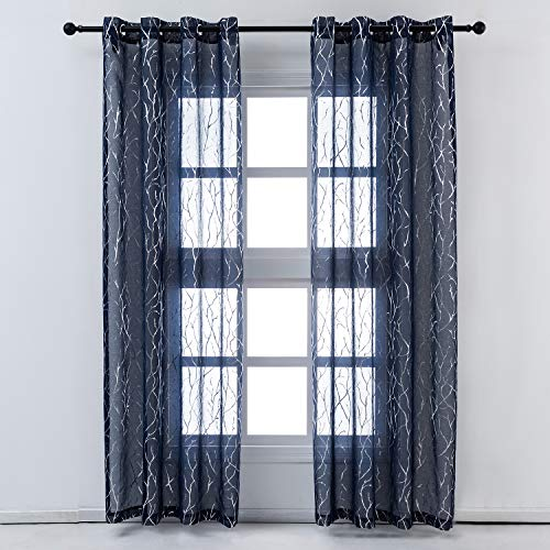 Kotile Tree Sheer Curtains for Bedroom - Metallic Silver Branch Pattern Blue Sheer Curtains 95 Inch Length Grommet Top Light Filter Privacy Voile Drapes, 52 x 95 Inch, 2 Panels, Navy Blue
