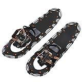 Keenso Raquetas de Nieve de 30 Pulgadas Marco de Aluminio Ligero Zapatos de Nieve para Hombre Raquetas de Nieve de montañismo Caminar Flexible con Hebilla Negro