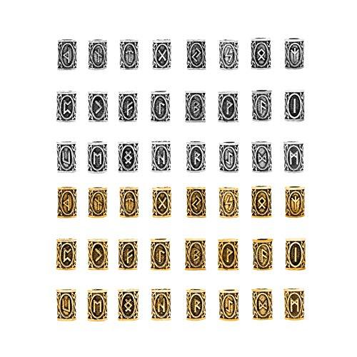 48 Piezas Cuentas Vikingas Nórdicas,Cuentas de Barba, Cuent