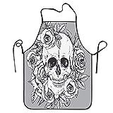 Not Applicable Croquis de Cintura Flores Cráneo Delantal Delantal de Babero casero para Mujeres Hombres Niña Niños Regalos Cocina Decoración Cocina