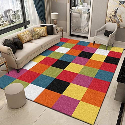 La alfombras Alfombra Juegos niños Patrón Rectangular Simple geométrico de Mosaico de Color Verde Rojo Amarillo Sofas Salon alfombras pasilleras 160*230cm