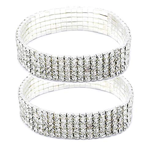Women Rhinestone Stretch Ankle Bracelet Silver Sparking Tennis Bracelet Crystal Anklet Foot Chain Jewelry (5 Row - 2pcs)