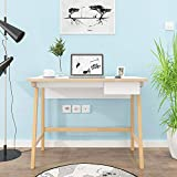 Frstone Writing Computer Desk, A Computer Desk with Drawers, Simple Study Desk, White