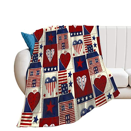 Manta de cama de tela de parche de corazón americano, manta decorativa de manta de 178 x 200 cm, manta de felpa de terciopelo de franela suave