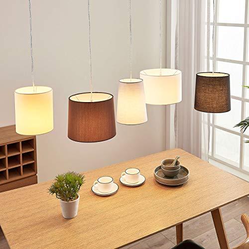 Lámpara colgante 'Hermina' (Moderno) en Marrón hecho de Textura, Tela, Tejido, Seda e.o. para Cocina (5 llamas, E27, A++) de Lindby | lámpara colgante textil, plafón, lámpara de techo textil, lámpara