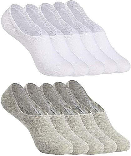 YOUCHAN Sneaker Socken Damen Herren Füßlinge 10 Paar Footies Unsichtbare Kurze No Show Socken Großes Silikonpad Anti Rutsch (Weiß-Grau, 35-38)