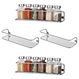 4 Pack Spice Rack for Wall Mount, Seasoning Organizer for Cabinet or Pantry Door, Space Saving Spice Shelf, Spice Storage, Perfect Hanging Racks for Kitchen Cabinet Cupboard Silver