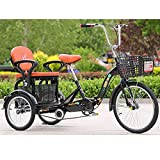 ZNND Triciclo Adulti Pieghevole Triciclo A 3 Ruote per Adulti 20 Pollici Biciclette A Tre Ruote Cruise Trike con Sedile Posteriore Carrello Spesa Vai Carrelli per Picnic Pedali (Color : Black)