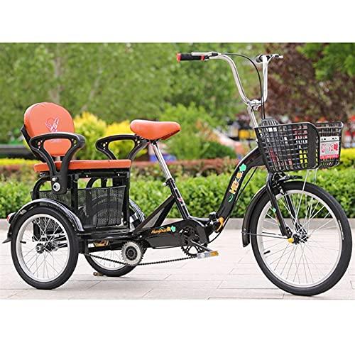 ZNND Bicicletas reclinadas Plegable Triciclo De 3 Ruedas para Adultos 20 Pulgadas Bicicletas De Tres Ruedas con Asiento Trasero Cesta Compra Van Los Carros para Picnics Bici Pedales