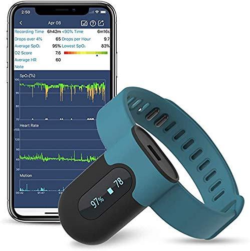 Sauerstoffsättigungs-Monitor, Am Handgelenk tragbarer Sauerstoffmonitor, Überwachung des Sauerstoffpegels im Schlaf über Nacht mit Vibrations-Feedback, App &PC-Bericht, Bluetooth Herzfrequenz Monitor