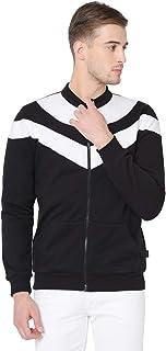 RIGO Black White Cut & Sew Open Front Full Sleeve Sweatshirts Jacket for Men