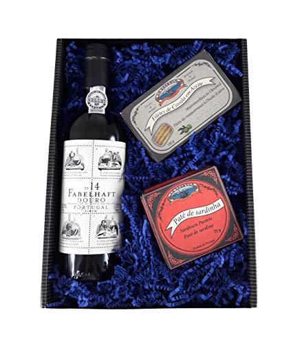 Wein Geschenkset Fabelhaft, 0,375 l Rotwein aus Portugal, 2 Delikatess Fischkonserven