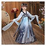 Disfraz antiguo para niña de manga larga, vestido de verano de gasa ligera estilo chino, falda de hada, traje Hanfu (color, tamaño: 140 cm)